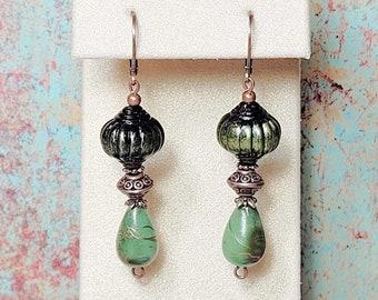 Green Dangle Earrings, Boho Earrings, Green Earrings, Bohemian Style, Copper Leverbacks, Earrings For Women