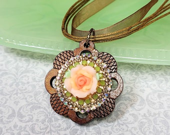 Boho Necklace, Wood Flower Pendant, Rose Pendant, Ribbon Necklace, Wooden Jewelry, Necklace For Her