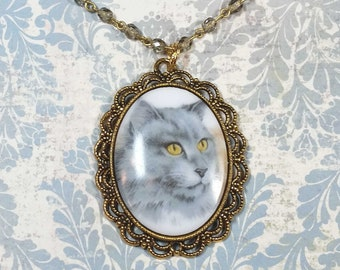 Cat Cameo Necklace, Grey Cat, Vintage Style Cat Pendant, Cat Necklace, Cat Jewelry, Gift For Cat Lover