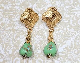 Green Glass Tombo Bead Earrings, Millefleur Glass Bead Earrings, Green Earrings, Vintage Brass Earrings, Vintage Style Post Earrings