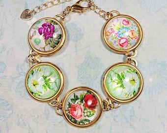 Colorful Floral Bracelet, Glass Cabochon Bracelet, Gold Tone Station Bracelet, Vintage Style Costume Jewelry