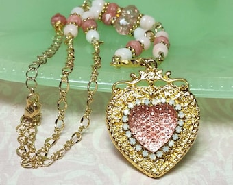 Pink Necklace & Earrings Set, Pink Heart Necklace Set, Vintage Glass Beaded Jewelry, Handmade Costume Jewelry, B'sue by 1928