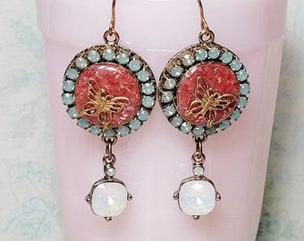 Glass Opal Earrings, Handmade Dangle Earrings, Artisan Earrings, Colorized Red Resin, Pacific Opal, White Opal Rhinestone Earrings