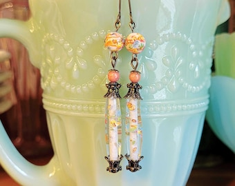 Glass Tombo Bead Earrings, Millefleur Glass Bead Earrings, Orange Earrings, Long Dangle Earrings, Vintage Style Boho Earrings