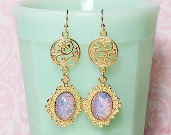 Pink Glass Opal Earrings, Elegant Dangle Earrings, Long Earrings, Vintage Style Earrings, Costume Jewelry
