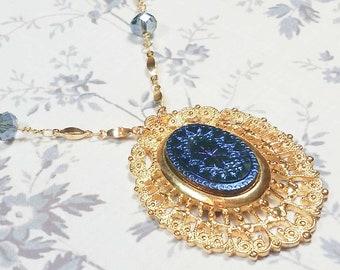 Blue Victorian Starburst Necklace, Art Deco Style Costume Jewelry, Victorian Starburst Pendant, Blue Star Burst Necklace