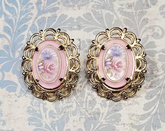 Antique Style Earrings, Post Earrings, Pink Floral Cameos, Vintage Style Earrings, Victorian Earrings, Gift For Her