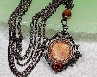 Art Nouveau Inspired Necklace, Mucha Pendant, Multi Chain, Antique Style Necklace, Vintage Style Necklace, Jewelry For Women