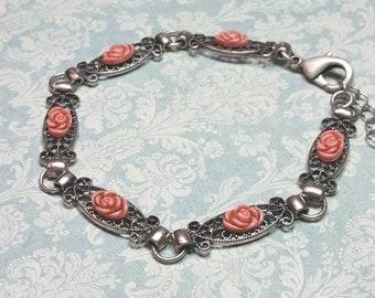 Silver Filigree Bracelet, Pink Rose Bracelet, Vintage Style Station Bracelet, Antique Style Silver Tone Bracelet, Pink Jewelry