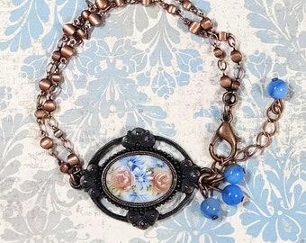 Vintage Bracelet, Multi Chain Bracelet, Vintage Glass Cameo Bracelet, Victorian Bracelet, Bracelet For Her