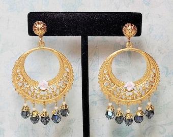 Gypsy Style Earrings, Filigree Chandelier Earrings, Montana Blue Glass Beads, Vintage Style Earrings, Bohemian Earrings