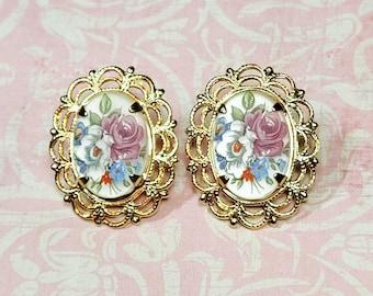 Antique Style Earrings, Vintage Style Earrings, Post Earrings, Floral Cameo Earrings, Victorian Earrings, Earrings For Her