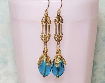 Vintage Style Earrings, Blue Dangle Earrings, Blue Earrings, Blue Glass Beads, Antique Style Earrings