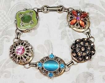 Upcycled Jewelry Bracelet, Repurposed Jewelry Bracelet, Rhinestone Button Bracelet, Costume Jewelry, Statement Bracelet