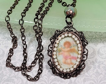 Victorian Angel Necklace, Vintage Style Cherub Necklace, Angel Pendant, Costume Jewelry, Necklaces For Her