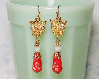 Red Tombo Bead Earrings, Crystal Embellished Butterfly Earrings, Red Earrings, Costume Jewelry Earrings, Vintage Cherry Brand Bead Jewelry