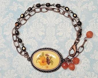 Vintage Floral Cameo Bracelet, Multi Chain Bracelet, Boho Bracelet, Glass Bead Bracelet, Flower Bracelet
