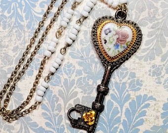 Antique Style Key Necklace, Key Pendant, Heart Necklace, Vintage Floral Heart Cameo, Key Jewelry, Romantic Style Necklace