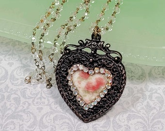 Victorian Heart Necklace, Floral Heart Pendant, Gift For Her, Handmade Necklace, Crystal Rosary Chain, Costume Jewelry