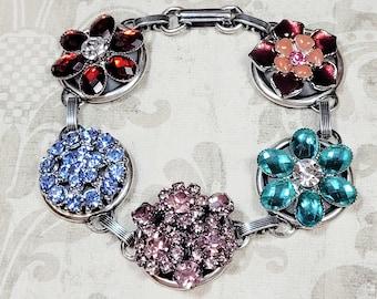 Rhinestone Button Bracelet, Repurposed Costume Jewelry, Glamorous Statement Bracelet, Button Jewelry, Upcycled Jewelry