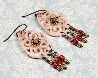 Bohemian Dangle Earrings, Vintage Style, Laser Cut Resin, Czech Glass Bead Dangles, Chandelier Earrings