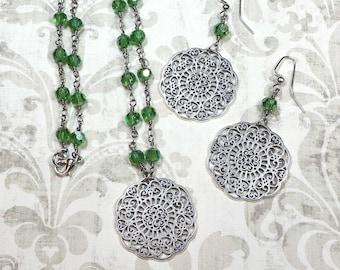Green Necklace Set, Silver Filigree Necklace & Earrings, Green Glass Bead Chain, Filigree Jewelry, Boho Jewelry Set