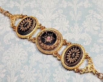 Victorian Starburst Bracelet, Vintage Style Costume Jewelry, Black and Gold Station Bracelet, Bracelets For Women