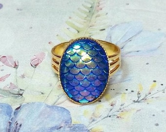 Blue Mermaid Scale Ring, Dragon Scale Ring, Iridescent Dragon Ring, Beach Jewelry, Mermaid Ring