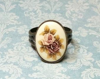 Antique Style Ring, Victorian Ring, Rose Cameo Ring, Vintage Style Ring, Adjustable Brass Ring