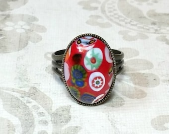 Millefiori Glass Cabochon Ring, Red Millefiori Ring, Red Statement Ring, Red Ring, Adjustable Brass Ring