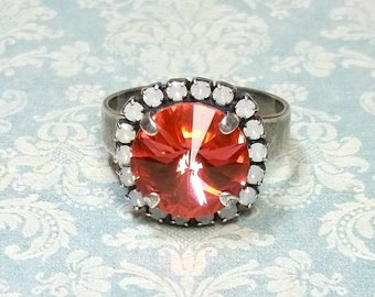 Padparadscha Cocktail Ring, Orange Rhinestone Ring, Silver Plated Adjustable Ring, Statement Ring