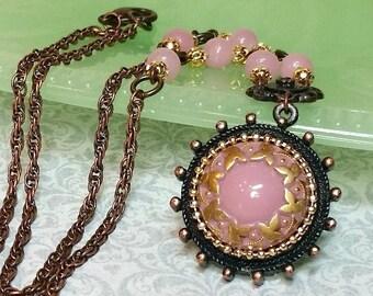 Unique Vintage Necklace, Pink Pendant, Handmade Artisan Jewelry, Vintage Glass Cabochon, Vintage Style Necklace