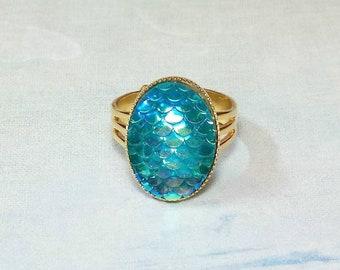 Aqua Dragon Scale Ring, Mermaid Ring, Iridescent Dragon Ring, Beach Jewelry, Mermaid Scale Ring