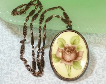 Rose Cameo Pendant, Vintage Style Necklace, Floral Cameo, Victorian Necklace, Necklaces For Women