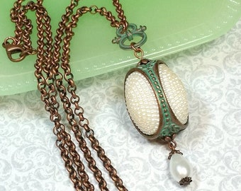 Patina Copper Spinner Pendant, Vintage Style Layering Necklace, Faux Pearl, Unique Artisan Necklace, B'sue by 1928 Weathered Copper