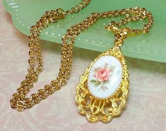 Pink Rose Cameo Necklace, Romantic Style Rose Pendant, Victorian Style Necklace, Vintage Style Necklace