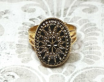 Victorian Starburst Ring, Victorian Star Ring, Starburst Ring, Victorian Ring, Black and Gold Ring
