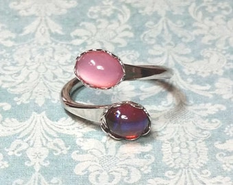 Silver Wrap Ring, Red Dragons Breath Ring, Vintage Pink Glass Moonstone Ring, Multi-Stone Ring, SIZE 7, Red Ring, Pink Ring