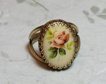 Cameo ring etsy antique style ring rose cameo ring gifts for rose lovers romantic jewelry vintage german decal cameo victorian ring vintage style ring aloadofball Choice Image