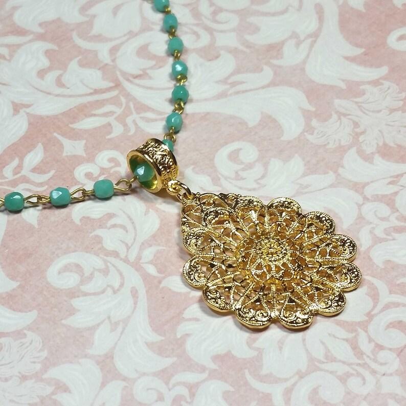 Filigree Mandala Necklace Statement Necklace Costume Jewelry Turquoise Glass Bead Chain Gold Plated Filigree Pendant