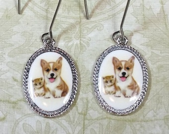 Adorable Kitten and Puppy Earrings, Baby Animal Dangle Earrings, Pet Charm Earrings, Animal Lover Gifts