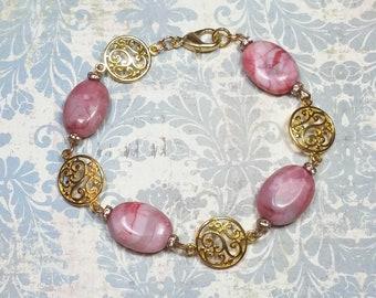Pink Agate Semi Precious Gemstone Bracelet, Pink Beaded Bracelet, Pink & Gold Bracelet, Bracelets For Women, Pink Bracelet