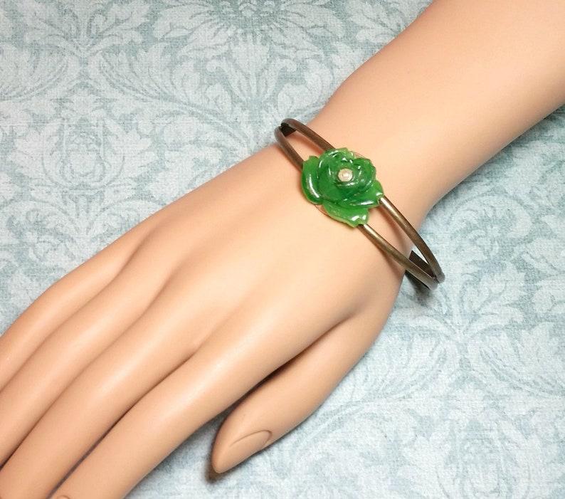 Green Rose Bracelet Vintage Flower Cuff Green Bracelet Vintage Glass Rose Cuff Bracelet