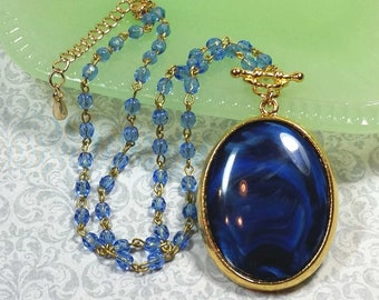 Blue Swirl Cabochon Necklace, Blue And Gold Costume Jewelry, Necklaces For Women, Vintage Style Blue Pendant Necklace