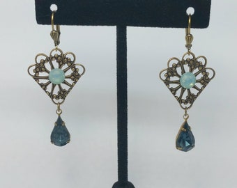 Handmade Victorian Style Filigree Earrings Pacific Opal Crystal Dangle Earrings Montana Blue Vintage Crystals Antique Style Unique Gifts