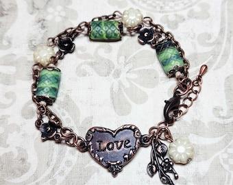 Love Heart Bracelet, Multi Chain Beaded Bracelet, Green Bracelet, Czech Glass Bead Bracelet, Vintage Style Costume Jewelry