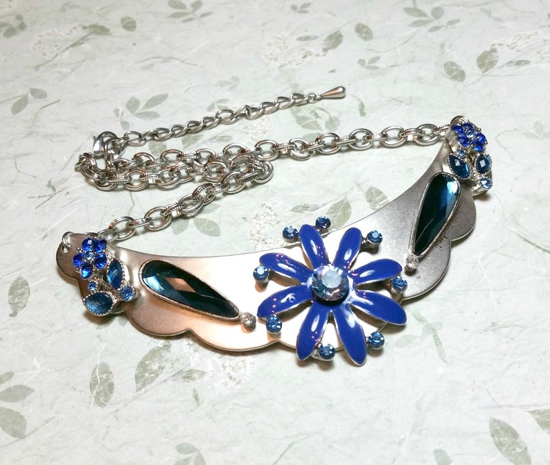 Silver-Tone Blue Collar Necklace Repurposed Costume Jewelry Statement Necklace