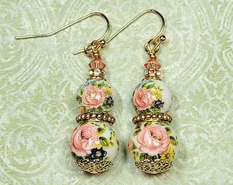 Floral Tensha Bead Earrings, Elegant Dangle Earrings, Floral Earrings, Costume Jewelry Earrings, Earrings For Women