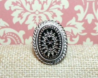 Victorian Starburst Ring, Starburst Cocktail Ring, Victorian Style Ring, Silver Plated Vintage Ring, Adjustable Ring