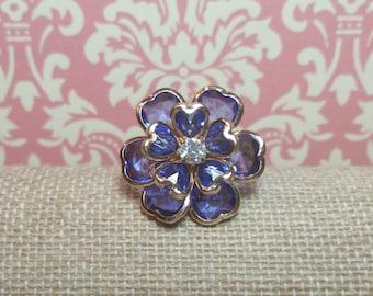 Blue Flower Ring, Blue Ring, Flower Ring, Blue Jewelry, Flower Jewelry, Floral Ring, Floral Jewelry, Blue, Boho Ring, Repurposed Jewelry